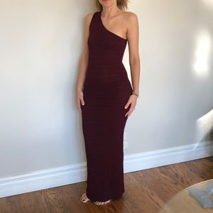 Sexy one shoulder long embossed ankle length dress